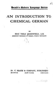 Cover of: An introduction to chemical German. | Eric V. Greenfield