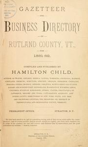 Cover of: Gazetteer and business directory of Rutland county, Vt., for 1881-82