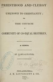 Cover of: Priesthood and clergy unknown to Christianity