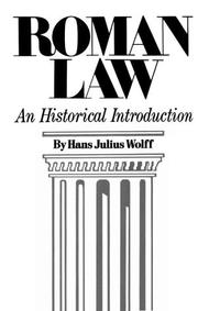 Cover of: Roman Law an Historical Introduction