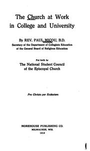 Cover of: The church at work in college and university