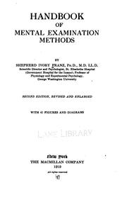 Cover of: Handbook of mental examination methods