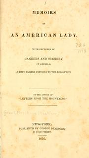 Cover of: Memoirs of an American lady. | Anne MacVicar Grant