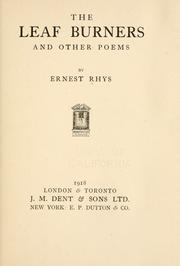 Cover of: The leaf burners | Rhys, Ernest