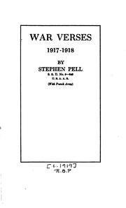 Cover of: War verses, 1917-1918 | Stephen Pell