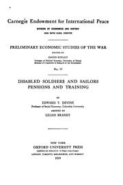 Cover of: Disabled soldiers and sailors pensions and training