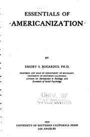 Cover of: Essentials of Americanization