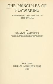 Cover of: The principles of playmaking | Matthews, Brander
