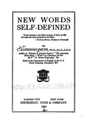 Cover of: New words self-defined | C. Alphonso Smith