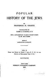 Cover of: Popular history of the Jews: with a supplementary volume of recent events by Dr Max Raisin. 6 vols (inc. supp).