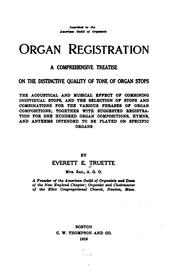Organ registration by Everett Ellsworth Truette