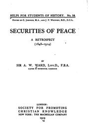 Cover of: Securities of peace: a retrospect (1848-1914)