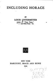 Cover of: Including Horace