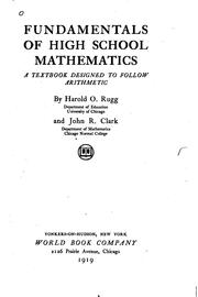 Cover of: Fundamentals of high school mathematics