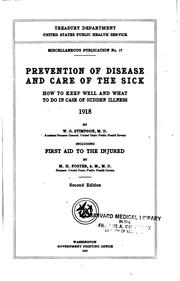 Cover of: Prevention of disease and care of the sick
