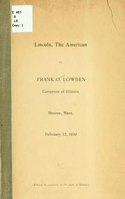 Cover of: Lincoln, the American