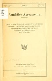 Cover of: Armistice agreements