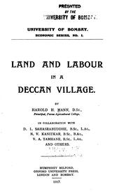 Cover of: Land and labour in a Deccan village