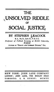 Cover of: The unsolved riddle of social justice