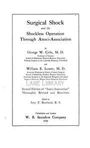 Cover of: Surgical shock and the shockless operation through anoci-association