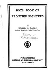 Cover of: Boys' book of frontier fighters