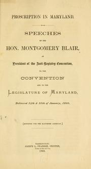 Cover of: Proscription in Maryland. | Blair, Montgomery