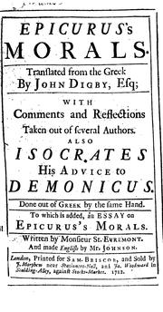 Cover of: Epicurus's morals