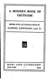 Cover of: modern book of criticism | Ludwig Lewisohn