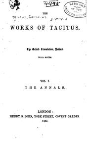 The works of Tacitus by P. Cornelius Tacitus
