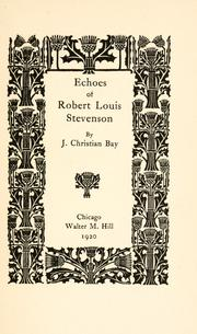 Cover of: Echoes of Robert Louis Stevenson