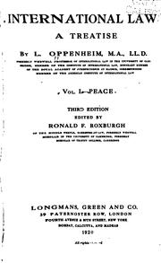Cover of: International law | L. Oppenheim