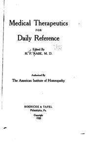 Cover of: Medical therapeutics for daily reference
