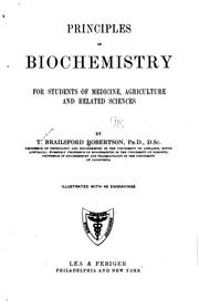 Cover of: Principles of biochemistry for students of medicine, agriculture and related sciences