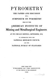 Cover of: Pyrometry | American Institute of Mining, Metallurgical, and Petroleum Engineers.