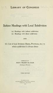 Cover of: Subject headings with local subdivision | Library of Congress. Catalog Division.