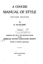 Cover of: concise manual of style. | Hiram Allan Reed