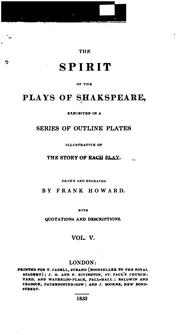 Cover of: The spirit of the plays of Shakspeare