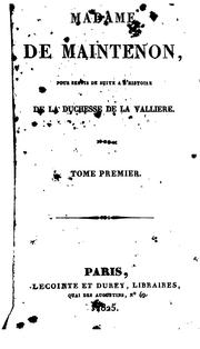 Cover of: Madame de Maintenon