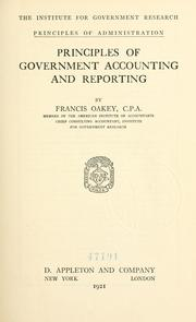 Cover of: Principles of government accounting and reporting