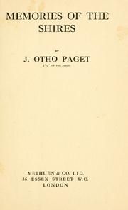 Cover of: Memories of the shires | J. Otho Paget