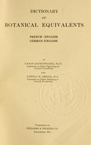 Cover of: Dictionary of botanical equivalents, French-English, German-English