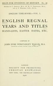 Cover of: English regnal years and titles | John Eyre Winstanley Wallis