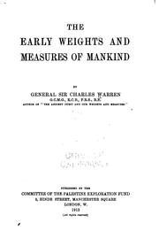 Cover of: The early weights and measures of mankind