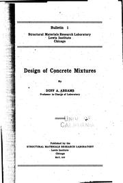 Cover of: Design of concrete mixtures