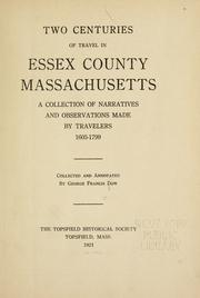 Cover of: Two centuries of travel in Essex County, Massachusetts