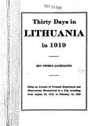 Cover of: Thirty days in Lithuania in 1919