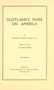 Cover of: Scotland's mark on America
