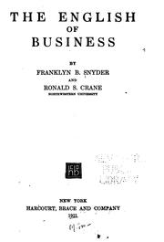 Cover of: English of business | Franklyn Bliss Snyder