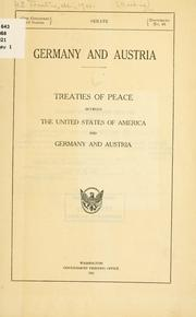 Cover of: Germany and Austria by United States