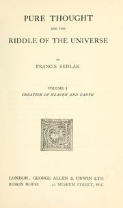Cover of: Pure thought and the riddle of the universe